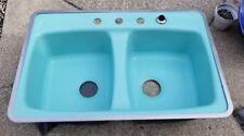 vintage kitchen sink corner cabinets ebay cast iron american standard double aqua turquoise