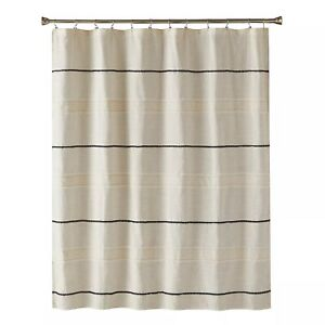black striped fabric shower curtains