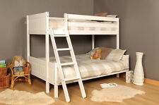 3ft 4ft Triple Wooden Bunk Bed Kids Pine White Mattress Option Free Next Day