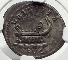 POSTUMUS 261AD Gallic Ancient Silver Roman Coin w GALLEY Cologne NGC i70403
