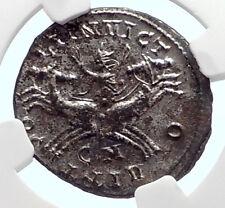AURELIAN Authentic Ancient 280AD Roman Coin SOL CHARIOT HORSE CHARIOT NGC i72088