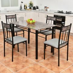 High Top Table Chair Set Pottery Barn Kids Chairs Dining Furniture Sets Ebay 5 Piece Faux Marble And 4 Kitchen Breakfast