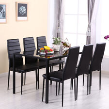 black table and chairs linen dining large glass in chair sets ebay modern 6 dinner set kitchen faux leather new