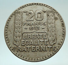 1933 FRANCE Authentic Large Silver 20 Francs Vintage French MOTTO Coin i76897