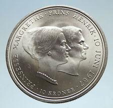 1967 DENMARK Marriage of Princess Margrethe II HUGE Silver Danish Coin i75153