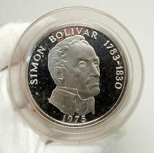 1975 PANAMA Huge 6.2cm Proof Silver 3.8oz 20 Balboas Coin w SIMON BOLIVAR i76339