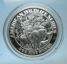 1993 FOXWOODS Casino Wildlife Series Proof Silver Bingo Medal DEER i68561