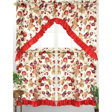 fruit kitchen curtains replacement sprayer ebay 3pc diana curtain tier swag red ruffle border mixed apple print