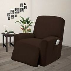 Recliner Chair Covers Folding For Sale Lazy Boy Ebay Pique Stretch Form Fit Furniture Cover Slipcover Brown