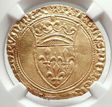 1380AD FRANCE Antique Medieval Gold French Coin of King CHARLES VI NGC i72723