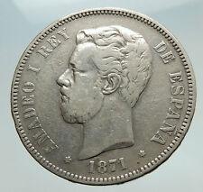 1871 SPAIN w King Amadeo I Amadeus Antique Silver 5 Pesetas Spanish Coin i74763