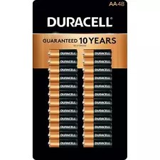 NEW Duracell Coppertop Alkaline Pack of 48 AA Batteries - Gold