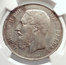 1873 BELGIUM Antique Silver 5 Francs Coin of King LEOPOLD II w LION NGC i71311