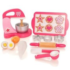 Childrens Toy Kitchen Discount Table Sets Ebay Wooden Cookie Biscuit Baking Cooking Set Pretend Food Play