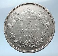 1908 HUNGARY w King Franz Joseph I Hungarian Antique Silver 5 Korona Coin i73864