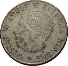 1966 Sweden GUSTAF VI Silver Krona Crowned ARMS Antique Vintage Coin i71965