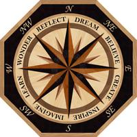Hardwood Wood Floor Medallion Inlay Compass Rose Inspired Octagon New Dawn 36