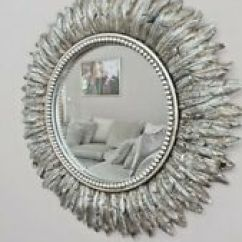 Mirrors Living Room Ikea Ideas For Small Ebay 40cm Round Silver Feather Effect Wall Mirror Bedroom Hallway Vanity
