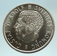 1959 SWEDEN King GUSTAV VI ADOLF 2 Kronor LARGE Silver SWEDISH Coin i76781