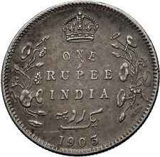 1903 King EDWARD VII of United Kingdom EMPEROR British INDIA Silver Coin i71899