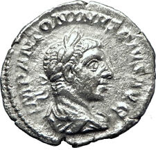 ELAGABALUS 220AD Rome Authentic Ancient Silver Roman Coin Victory i70382