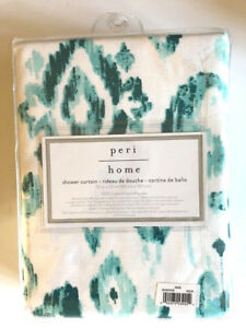 peri white fabric shower curtains for