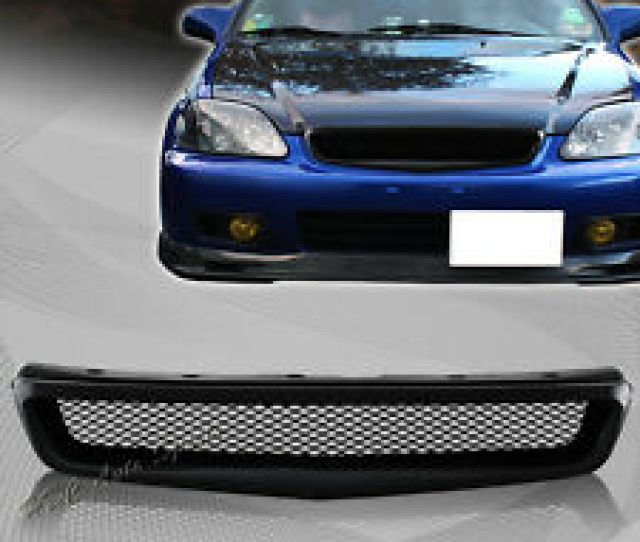 For 1999 2000 Honda Civic Jdm Type R Black Mesh Abs Front Hood Grille Grill