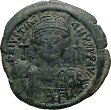 JUSTIANIAN I the Great Ancient CONSTANTINOPLE Half Follis Byzantine Coin i74872