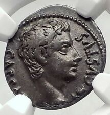 AUGUSTUS Authentic Ancient 19BC Silver Roman Coin OB CIVIS SERVATOS NGC i72342