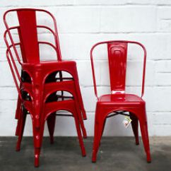 Red Kitchen Chairs Pantrys Ebay Set Of 4 Metal Industrial Dining Chair Bistro Cafe Vintage Seating