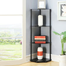modern corner shelves for living room battery operated lamps glass wall ebay shelf rack 4 tier black bath dining home display stand