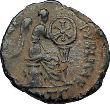 EUDOXIA Arcadius Wife 401AD Authentic Ancient Roman Coin VICTORY CHI-RHO i67301