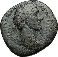 ANTONINUS PIUS Authentic Ancient Sestertius Rome Roman Coin w LIBERTAS i71051