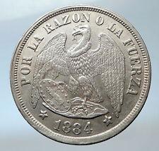 1884 CHILE Silver South America PESO w Eagle Condor Bird Antique Coin i73853