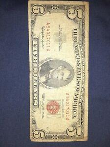 Five Dollar Bill With Red Ink : dollar, Dollar