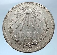 1938 MEXICO Large w Eagle Liberty Cap Mexican Antique Silver 1 Peso Coin i73943