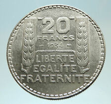 1934 FRANCE Authentic Large Silver 20 Francs Vintage French MOTTO Coin i76819