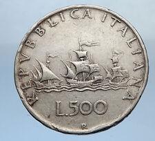 1958 ITALY - CHRISTOPHER COLUMBUS DISCOVER America SILVER Italian Coin i69869