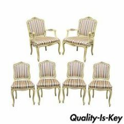 Vintage Dining Room Chairs Chiavari Aluminum French Antique Ebay Set Of 6 Vtg Provincial Louis Xv Style Cream Painted