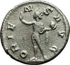 GORDIAN III 243AD Authentic Silver Ancient Roman Coin Nude Sol Sun i75837