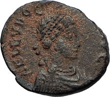 EUDOXIA Arcadius Wife 401AD Authentic Ancient Roman Coin VICTORY CHI-RHO i67510