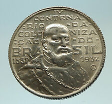 1932 BRAZIL Silver 2000 Reis Coin w Duke of Caxias Marshall Alvez de Lima i76813