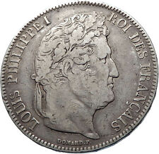 1842 FRANCE King Louis Philippe I French Antique Silver 5 Francs Coin i73920