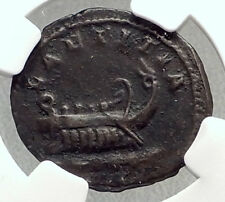 POSTUMUS 261AD Gallic Ancient Silver Roman Coin w GALLEY Cologne NGC i72658