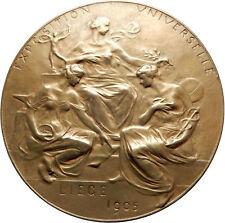 1905 BELGIUM Liege Universal Exposition WORLD's FAIR Antique Medal WOMEN i69599