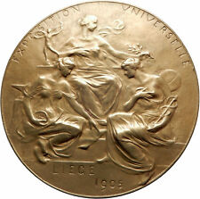 1905 BELGIUM Liege Universal Exposition WORLD's FAIR Antique Medal WOMEN i69599