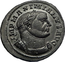 MAXIMIAN 302AD Lugdunum Follis GENIUS Altar Authentic Ancient Roman Coin i66947