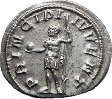 PHILIP II Roman Caesar with globe 244AD Silver Rare Ancient Roman Coin i70116