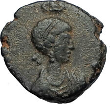 EUDOXIA Arcadius Wife 401AD Authentic Ancient Roman Coin VICTORY CHI-RHO i67529