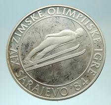 1983 YUGOSLAVIA Sarajevo XIV Olympic Games Ski Jumper Genuine Silver Coin i76884